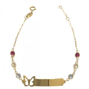 pulseira-infantil-em-ouro-18k-chapa-com-borboleta-e-zirconias